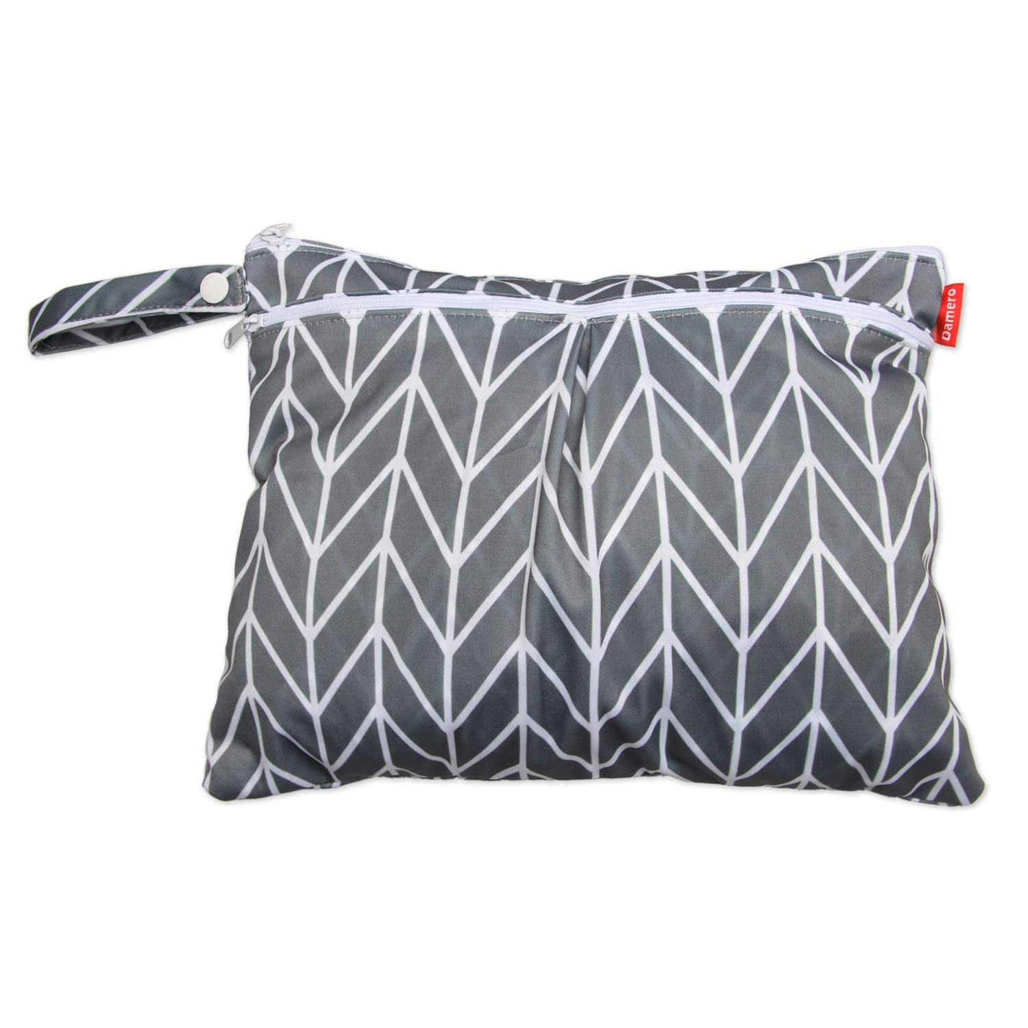 Damero Travel Wet and Dry Bag with Handle for Cloth Diaper, Pumping Parts, Clothes, Swimsuit and More, Easy to Grab and Go (Small, Gray Arrows)
