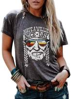 Have A Willie Nice Day Funny Letter T-Shirt Womens Vintage Willie Graphic Tees Country Music Party Short Sleeve Tops Blouses