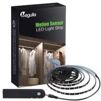 Motion Sensor Closet Lights, Megulla Rechargeable Battery Motion Activated LED Tape Light with Dimmer and Timer, Waterproof Black Light Strip for Under Cabinet, Pantry, Stairs, Gun Safe and Shelf
