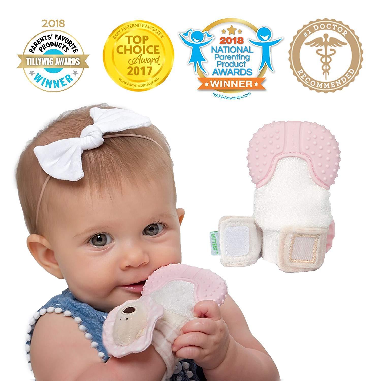 MITTEEZ Organic Premium Teething Mitten and Keepsake for Babies 0-8 Months - Pink