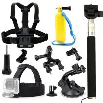 TEKCAM Accessories Compatible with Gopro Hero 8 7/Campark/AKASO EK7000 Brave 4/Crosstour Waterproof Action Camera Head Strap Chest Harness Car Suction Cup Floating Handle Grip Bike Handlebar Mount