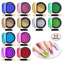 Chrome Nail Powder Metallic Nail Art Powder, Mirror Effect Manicure Pigment Laser Synthetic Resin Powder Colors Nail Powders Manicure Art Decoration with Eyeshadow Sticks – Never Peel Off (12)