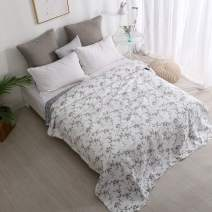Cotton Quilted Throw Blanket for Bed Coverlets Garden Floral Patchwork Bedspread Quilt Bed Cover for Twin/Full Bed Couch Sofa Home Décor (Flowers-Wave Design)