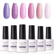 Candy Lover Popular Gel Nail Polish, Lavender Fog Peach Pink Purple Pastel UV LED Selected 6 Fall Colors Set - Soak Off Nail Gel Polish Home Manicure Autumn Varnish Kit
