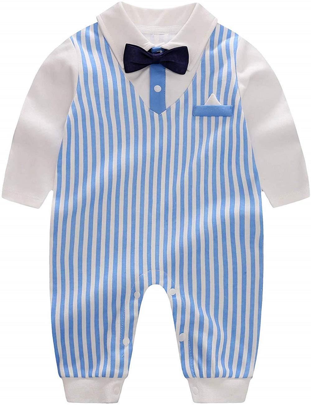 Yoveme Newborn Baby Boy Gentleman Clothes,Infant Bow Ties Tuxedo Romper Formal Outfits