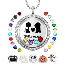 AZNECK 30mm Jack and Sally Nightmare Before Christmas Necklaces Halloween Locket Kids Floating Charms Pendant Gifts for Women Girls Men Boys Birthstone Jewelry