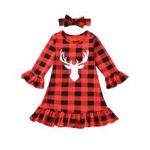 Toddler Baby Girls Buffalo Plaid Ruffle Cuff Deer Smocked Dress with Headband Fall Winter Clothes Set