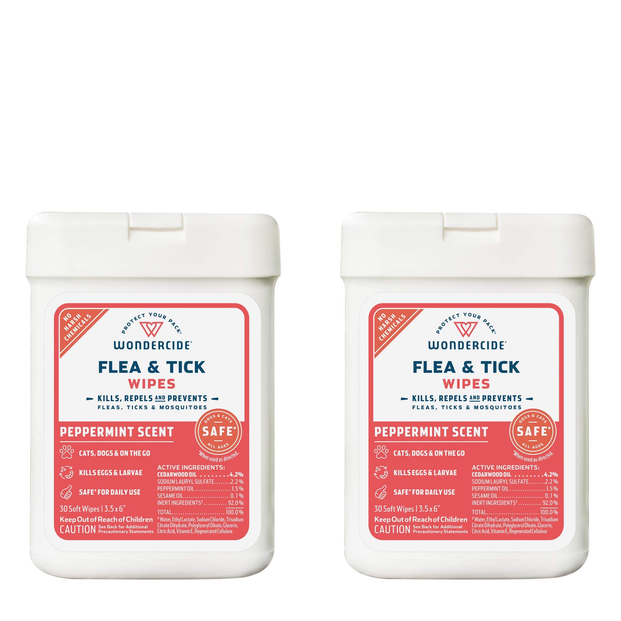 Wondercide Natural Flea, Tick and Mosquito Wipes for Dogs and Cats – Flea and Tick Killer, Treatment, Prevention – 2-Pack Peppermint