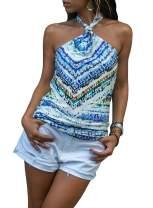 LOSRLY Women Halter Neck Floral Boho Printed Sleeveless Cami Tank Tops