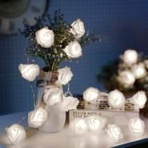 JMEXSUSS Timer 8 Modes 30 LED Battery Operated White Rose Flower 16.4 Feet Fairy String Light for Valentine Decoration Wedding Bedroom Garden Christmas Decor (30LED 16.5Feet, White)