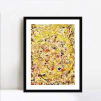 """INVIN ART Framed Canvas Giclee Print Art Shimmering Substance by Jackson Pollock Abstract Wall Art Living Room Home Office Decorations(Black Frame with Mat,20""""x24"""")"""