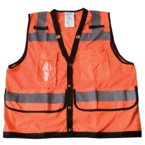 """Ironwear 1279-OS-CID-5-2XL ANSI Class 2 Polyester SAFETY Vest with Snaps, Clear ID Holder, 2"""" Silver Reflective Tape, Orange, 2X-Large"""