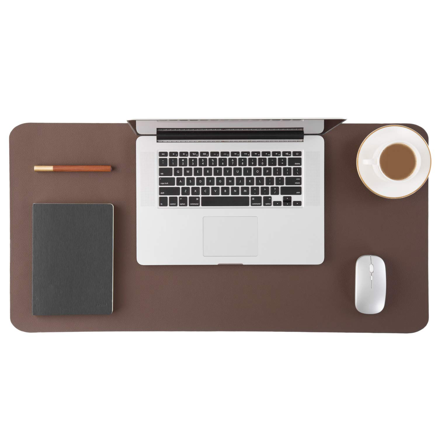 Bedsure Genuine Leather Desk Pad, Office Desk Mat Blotter on top of desks, Large Computer Desk Mat, Waterproof Non Slip Desk Pad Protector for Office and Home (Brown, 15.7x31.5 inches)