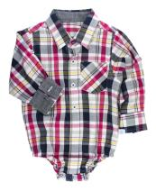 RuggedButts Baby/Toddler Boys Plaid Long Sleeve Button-Up Bodysuit
