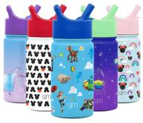 Simple Modern Disney Water Bottle for Kids Reusable Cup with Straw Sippy Lid Insulated Stainless Steel Thermos Tumbler for Toddlers Girls Boys, 14oz, Toy Story: Andy's Toys