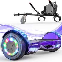 """EverCross Hoverboard, 6.5"""" Self Balancing Scooter Hoverboards with Seat Attachment, Hover Board Scooter with Bluetooth & LED Light, Hoverboard for Kids and Adults"""