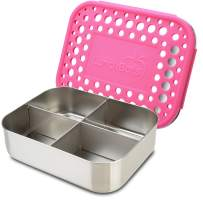 LunchBots Medium Quad Snack Container - Divided Stainless Steel Food Container - Four Sections for Finger Foods On the Go - Eco-Friendly, Dishwasher Safe - Stainless Lid - Pink Dots