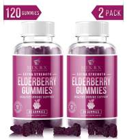 (2 Pack) Elderberry Gummies for Immune Support Booster Adults Kids Toddlers with Vitamin C, Zinc, Echinacea, Propolis - Sambucus Black Elderberry Gummy Extract - Better Than Capsules Syrup