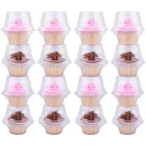 Himetsuya Single Cupcake Boxes -50 packs -Stackable Regular Cupcake Carrier Holder, Thicker Clear Cupcake Boxes, Non-slip High Topping Cupcake Containers for Cupcakes, Muffins (Single, 50 Pack)