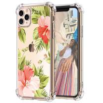 """Hepix Floral Clear iPhone 11 Pro Case Flowers Tropical Leaves 11 Pro Cases, Slim Crystal Flexible Soft TPU with Protective Bumpers Anti-Scratch Shock Absorption for iPhone 11 Pro 5.8"""", Gift Choice"""