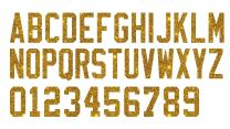 2-Inch Tall GBP Glitter, Glow in Dark, Reflective, Metallic Vinyl Iron-on Letters Numbers for Custom Jersey, Shirts, Garments and Clothing,26 Letters and 10 Digits (Gold Glitter)