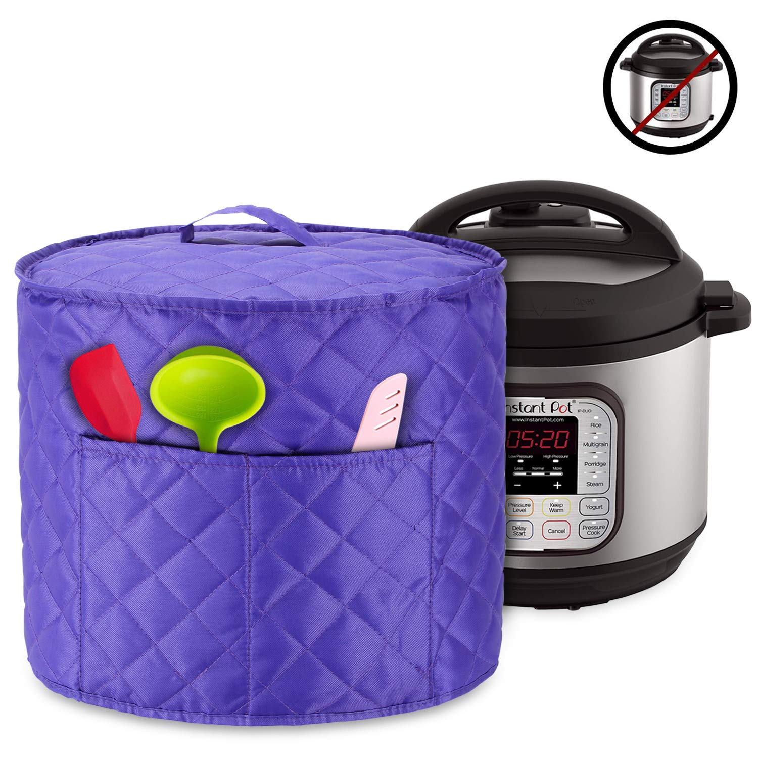 Luxja Dust Cover for 8 Quart Instant Pot, Cloth Cover with Pockets for Instant Pot (8 Quart) and Extra Accessories, Purple Quilted Fabric (Large)