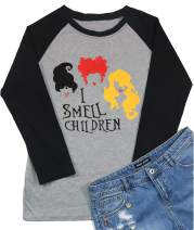 I Smell Children Shirt Women Halloween Sanderson Sisters Graphic Print Funny Halloween Witch Tee Costume T Shirt Tops