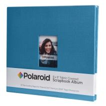 """Polaroid 8""""x8"""" Cloth Covered Scrapbook Photo Album w/Front Picture Window for 2x3 Photo Paper Pojects (Snap, Zip, Z2300) - Blue"""
