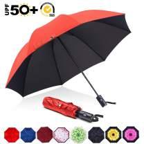 ABCCANOPY Umbrella Compact Rain&Wind Teflon Repellent Umbrellas Sun Protection with Black Glue Anti UV Coating Travel Auto Folding Umbrella, Blocking UV 99.98%,red