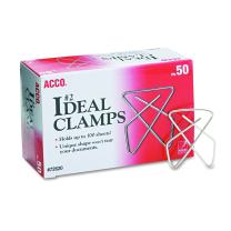 ACCO Ideal Butterfly Paper Clamps, Steel Wire, Small 1.5 Inch Size, 100 Sheet Capacity, Silver, 50 Clamps per Box (A7072620)