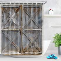 LB Western Country Theme Barn Wood Shower Curtain Farmhouse Style Rustic Old Wooden Barn Door Shower Curtain 60 x 72 Inch Waterproof Polyester Fabric with 10 Hooks