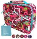 Lunch Box with Ice Pack for Girls, Cute Insulated Bag for Elementary School Kindergarten, Baby Daycare, Container Boxes for Small Kid Girl Snacks Lunches, BPA Free (Pink Purple Hearts)