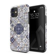BURGA Phone Case Compatible with iPhone 11 - White Gold Marble Blue Moroccan Tiles Pattern Mosaic Cute Case for Girls Heavy Duty Shockproof Dual Layer Hard Shell + Silicone Protective Cover