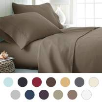 ienjoy Home Hotel Collection Luxury Soft Brushed Bed Sheet Set, Hypoallergenic, Deep Pocket, Twin, Taupe