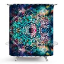 PHNAM Star Flower Mandala Shower Curtain with Hooks Night Printed 72x72 Inches Extra Long Waterproof Decoration Polyester Cloth Bath Curtains Sets for Bathroom, Bathtub