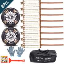 OTUAYAUTO Snow Tire Chains, Snow Chain for SUV, Cars, Sedan, Truck, RV with Update Adjustable Lock for Ice Snow Mud Sand, Applicable Tire Width 225mm - 285mm / 8.9inch - 11.2ich, 8Pcs