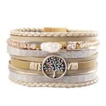 joymiao Womens Leather Cuff Bracelet with Pearl Boho Bangle Tree of Life Handmade Jewelry for Teen Girls