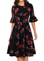 Women's Elegant Vintage Casual Work Ruffled Sleeve Swing Cocktail Party Dress with Pockets 946