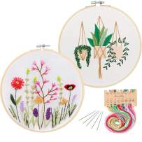 2 Pack Embroidery Starter Kit with Pattern, Kissbuty Full Range of Stamped Embroidery Kit Including Embroidery Cloth with Pattern, Bamboo Embroidery Hoop, Color Threads and Tools Kit(Plant and Floral)