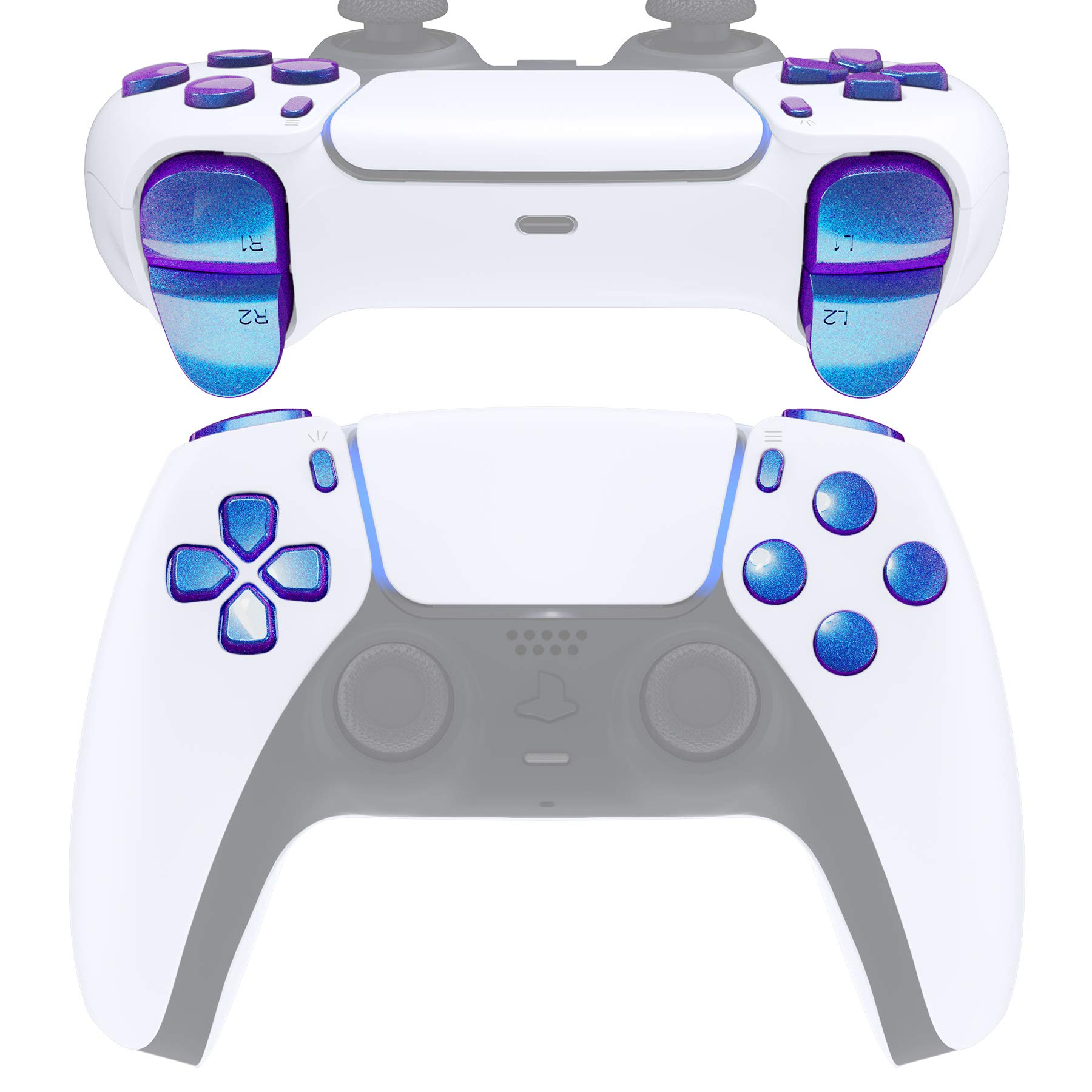 eXtremeRate Replacement D-pad R1 L1 R2 L2 Triggers Share Options Face Buttons for DualSense 5 PS5 Controller, Chameleon Purple Blue Full Set Buttons Repair Kits with Tool for Playstation 5 Controller