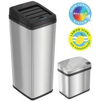 iTouchless 14 Gallon and 2.5 Gallon Sensor Trash Cans with AbsorbX Odor Control System, Kitchen and Bathroom Automatic Garbage Bins, Combo, Stainless Steel/Stainless Steel