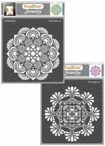 CrafTreat Mandala Stencils for Painting on Wood, Canvas, Paper, Fabric, Floor, Wall and Tile - Mandala and Mandala 2-2 Pcs - 6x6 Inches Each - Reusable DIY Art and Craft Stencils