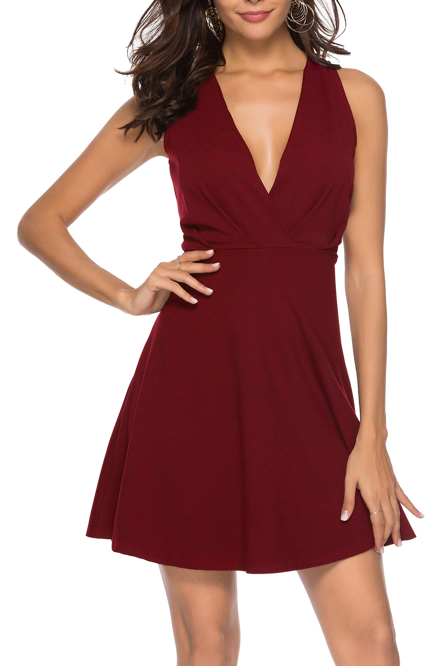 Sarin Mathews Womens Sexy V Neck A-line Homecoming Cocktail Party Skater Dress