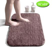 "Bathroom Rug Non Slip Bath Mat for Bathroom Water Absorbent Soft Microfiber Shaggy Bathroom Mat Machine Washable Bath Rug for Bathroom Thick Plush Rugs for Shower - Dark Brown, 16""x24"""