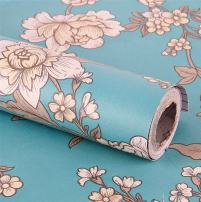 Moyishi Vintage Floral Flower Film Peel & Stick Shelf Liner Dresser Drawer Sticker 17.7''x78.7'' (Blue)
