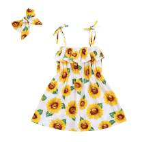 Toddler Baby Girl Sunflower Dress Outfits Ruffle Off-The-Shoulder Halter Tutu Dress Summer Beachwear Clothes Set