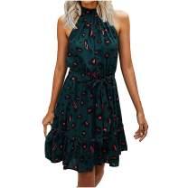 Gorday Dress for Women, Women's Summer Sleeveless Dresses Floral Printed Halter Ruffle Bandage Beach Party Mini Dress