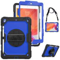 """iPad 10.2 Case,iPad 7th Generation Cases 2019 with Screen Protector&Pencil Holder,Herize Heavy Duty Hard Durable Dropproof Protective Case with Kickstand,Hand Strap,Shoulder Strap for iPad 10.2"""",Blue"""