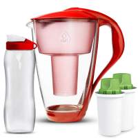 Dafi Alkaline UP Crystal Glass Water Pitcher 8 cups LED - made from Borosilicate Glass - Set with 2 Alkaline UP Water Filters and FREE 24 fl oz Sport Water Bottle (Red)