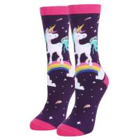 HAPPYPOP Women Girls Funny Rainbow Unicorn Cotton Crew Socks, Cute Unicorn with Donuts Narwhal Poop Gift Socks